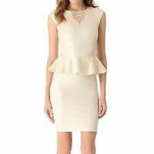 Alice + Olivia Ivory Victoria Ponte Peplum Dress